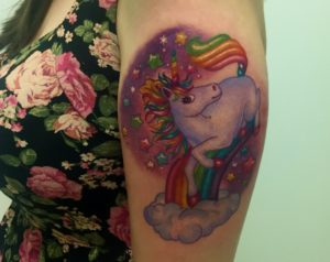 Lisa frank unicorn tattoo cult de luxe for Tattoo shops salem nh